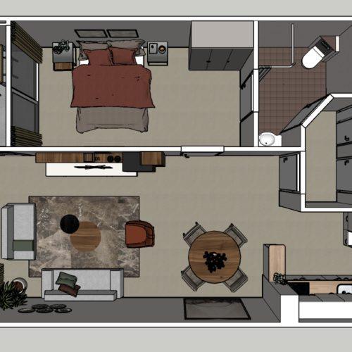 2-kamer Appartement Modern Plattegrond