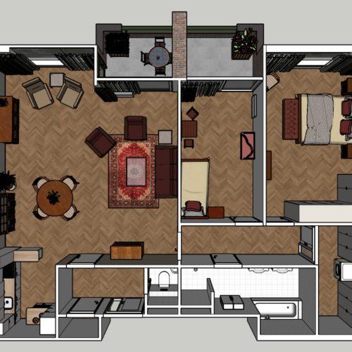 3-kamer Appartement Klassiek Plattegrond